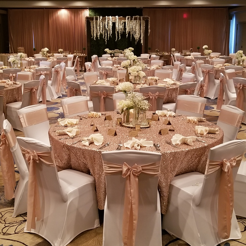 Beautiful table set up for wedding reception at Eastland Suites Bloomington, IL.jpg