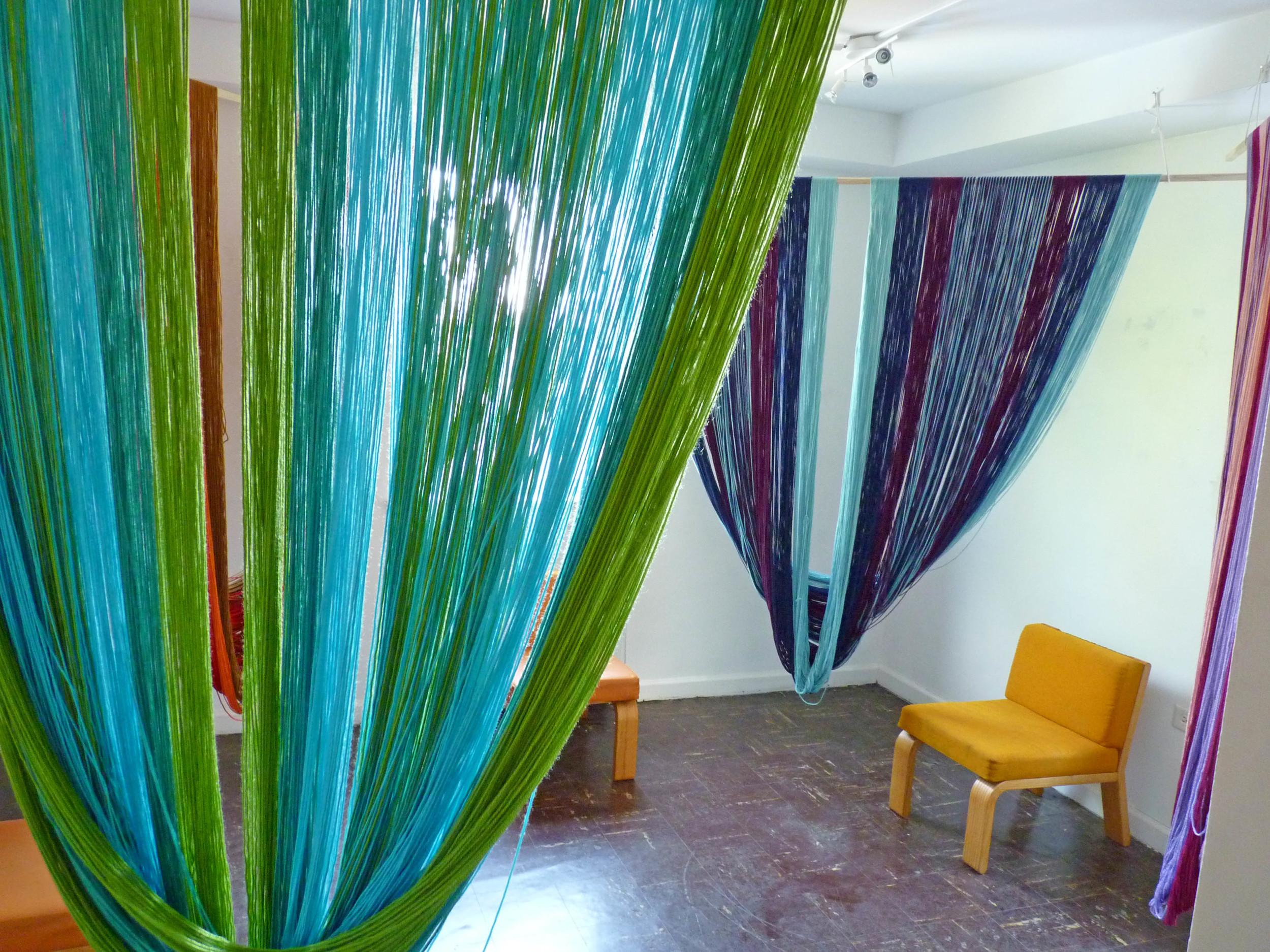 Corners for Seasons (Installation view), 2015, Acrylic yarn, wood, Four units, each 7' x 6'