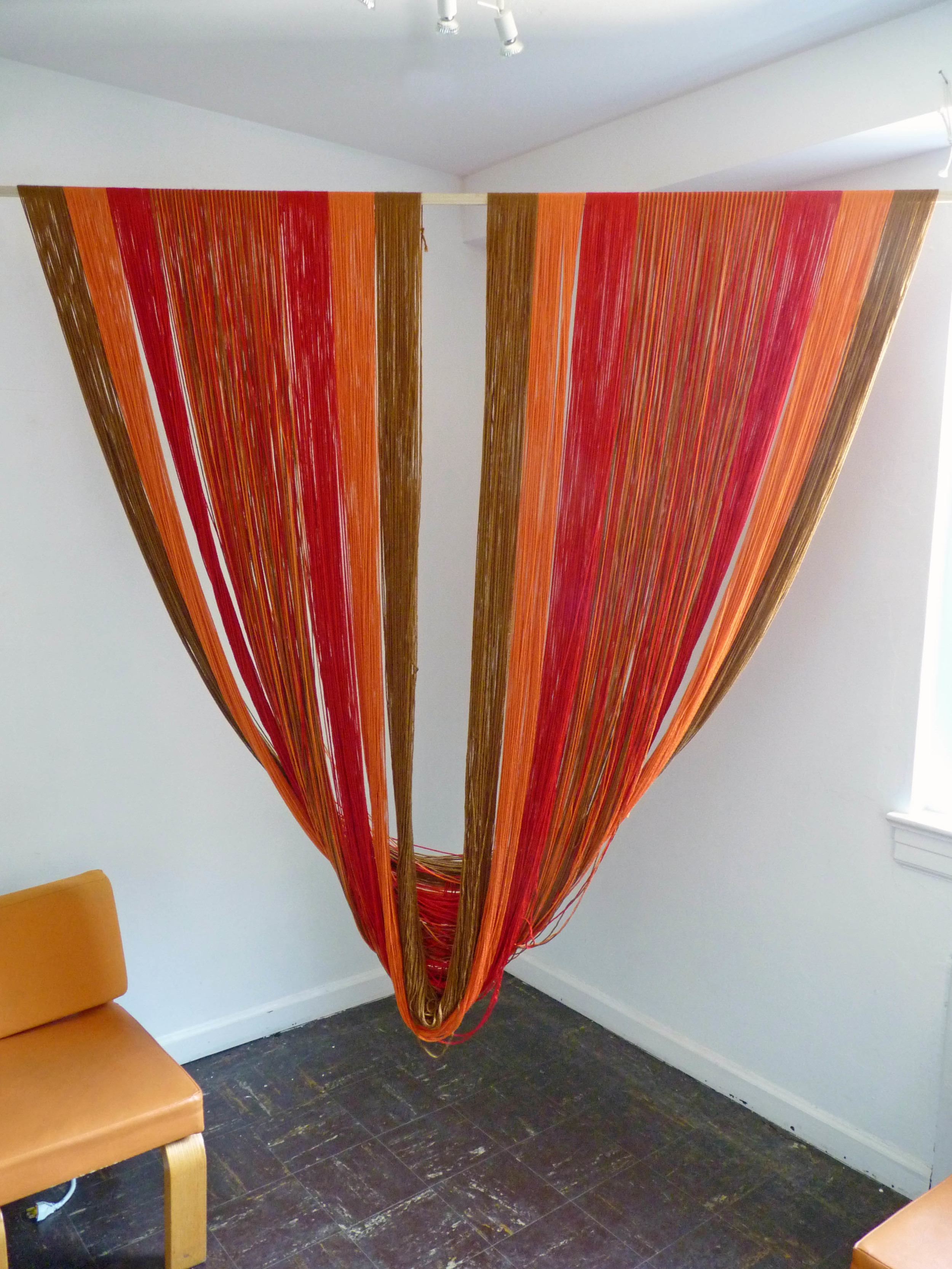 Corners for Seasons Fall, 2015, Acrylic yarn, wood, 7' x 6'