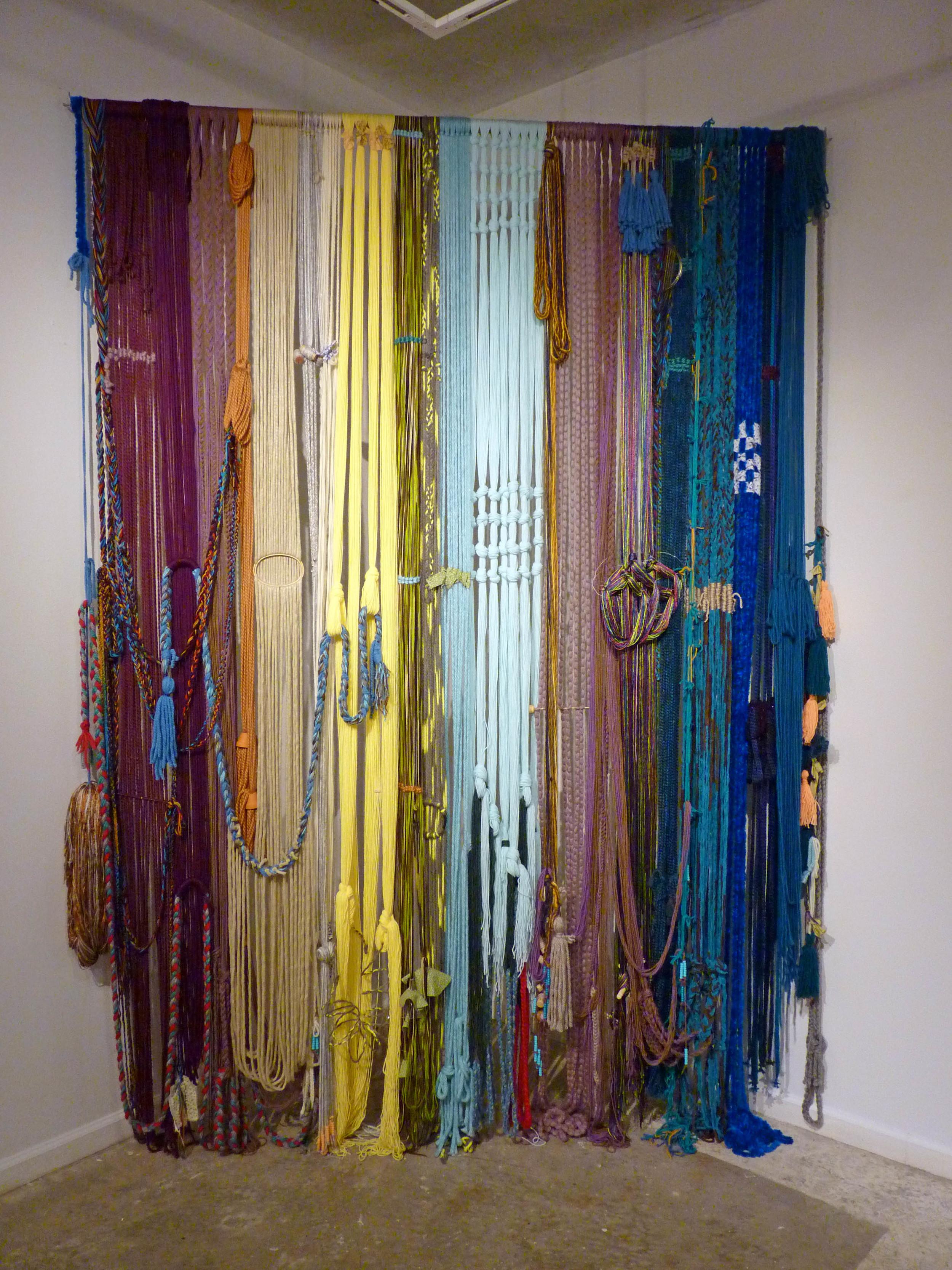 Teen Baleen (Corset), 2015, Yarn with fabric, wood and metal, 7' x 4' x 11'