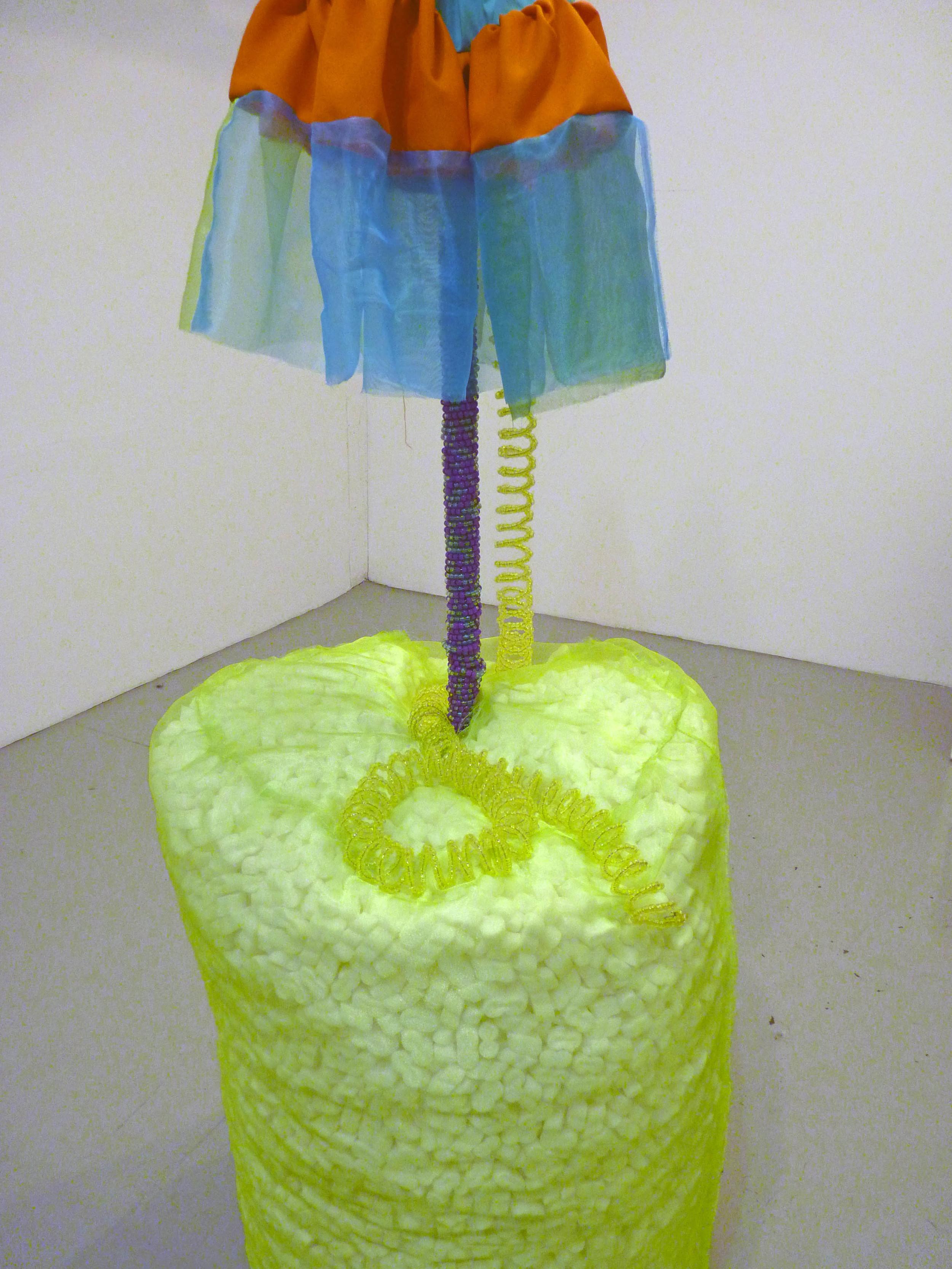 Untitled (Tankini), 2014, Fabric, metal, plastic beads, styrofoam and wood, 3' x 8' (detail)