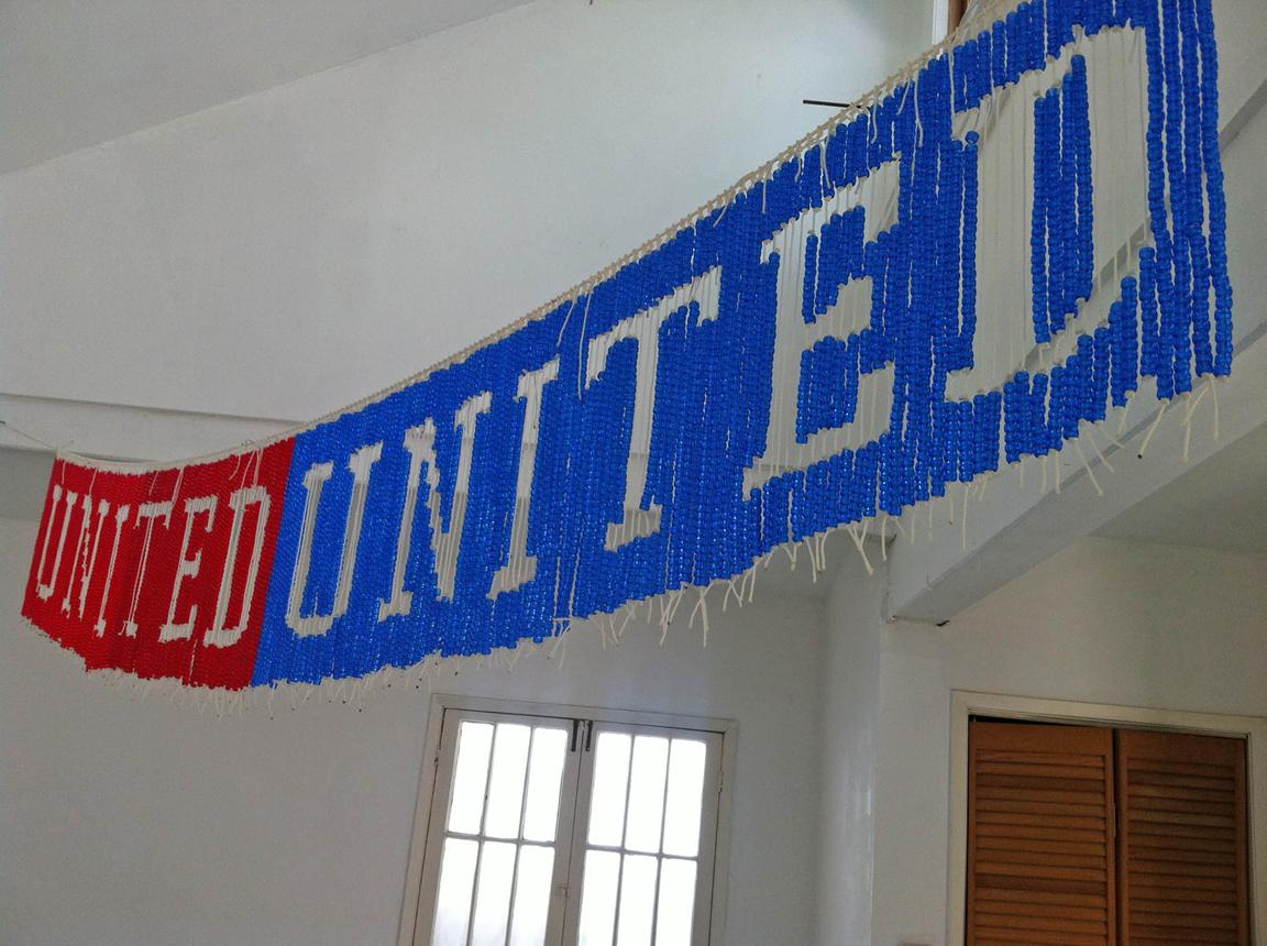 UNITEDunited, 2013, Plastic beads and nylon cord, 9' x 1' (detail)