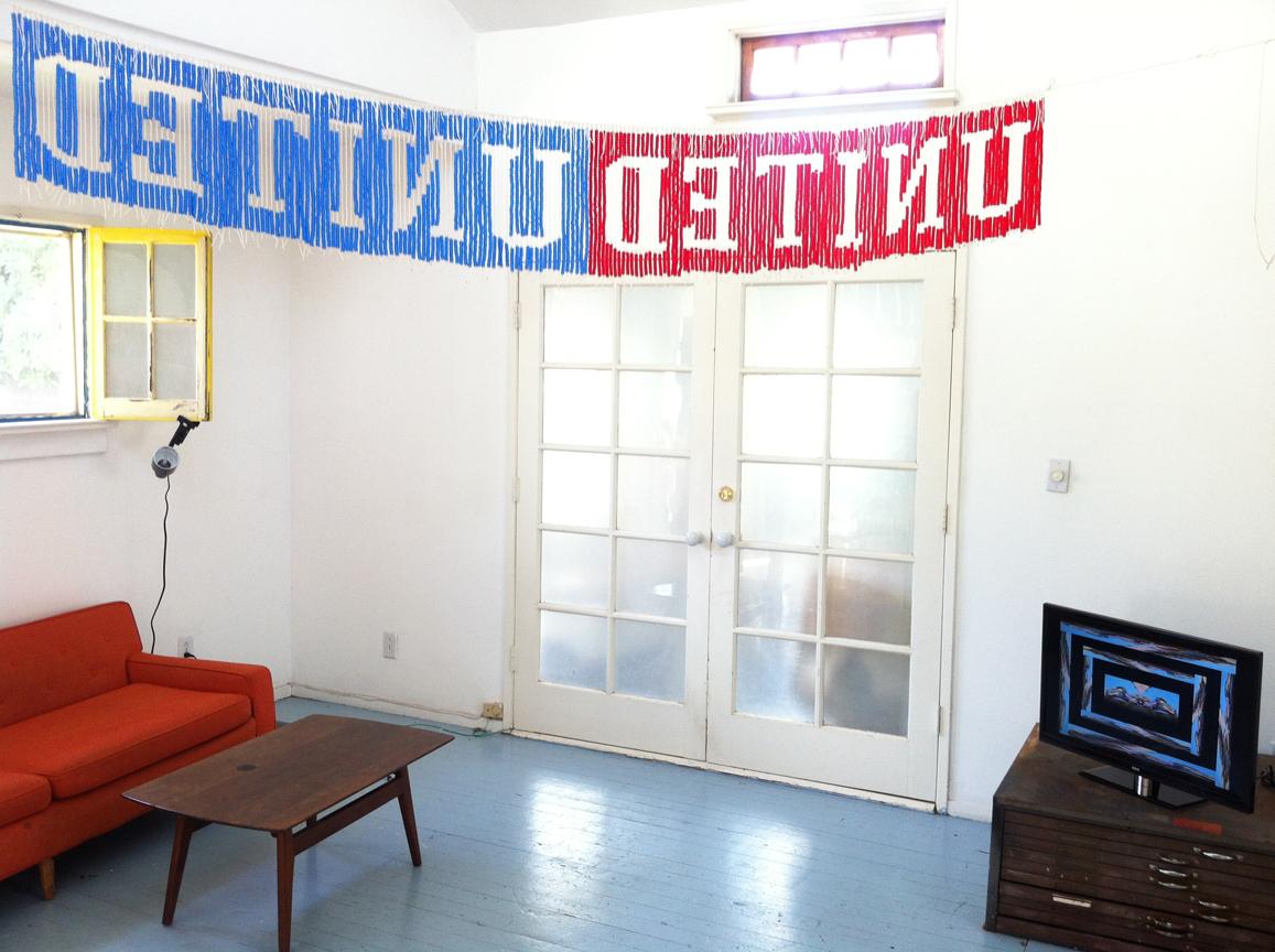 UNITEDunited, 2013, Plastic beads and nylon cord, 9' x 1' (Installation view)