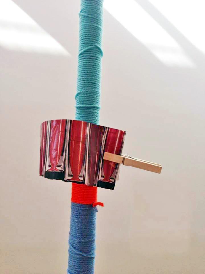 "Roomba, 2013, Metal, fabric, yarn, wood 100"" x 20"", detail"