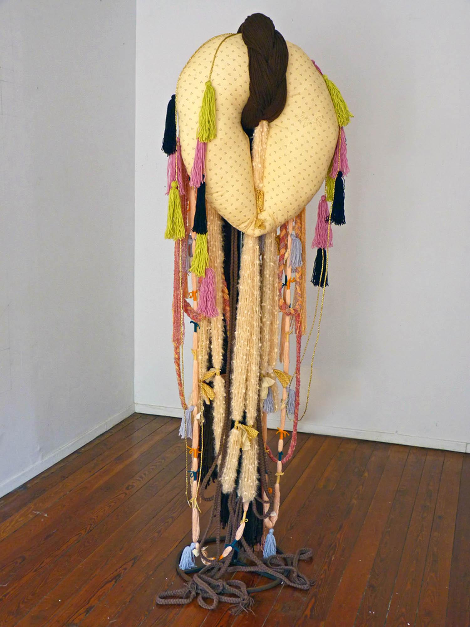 Omega Female, 2012, Acrylic yarn, cotton, steel, 72 x 24 x 24 inches
