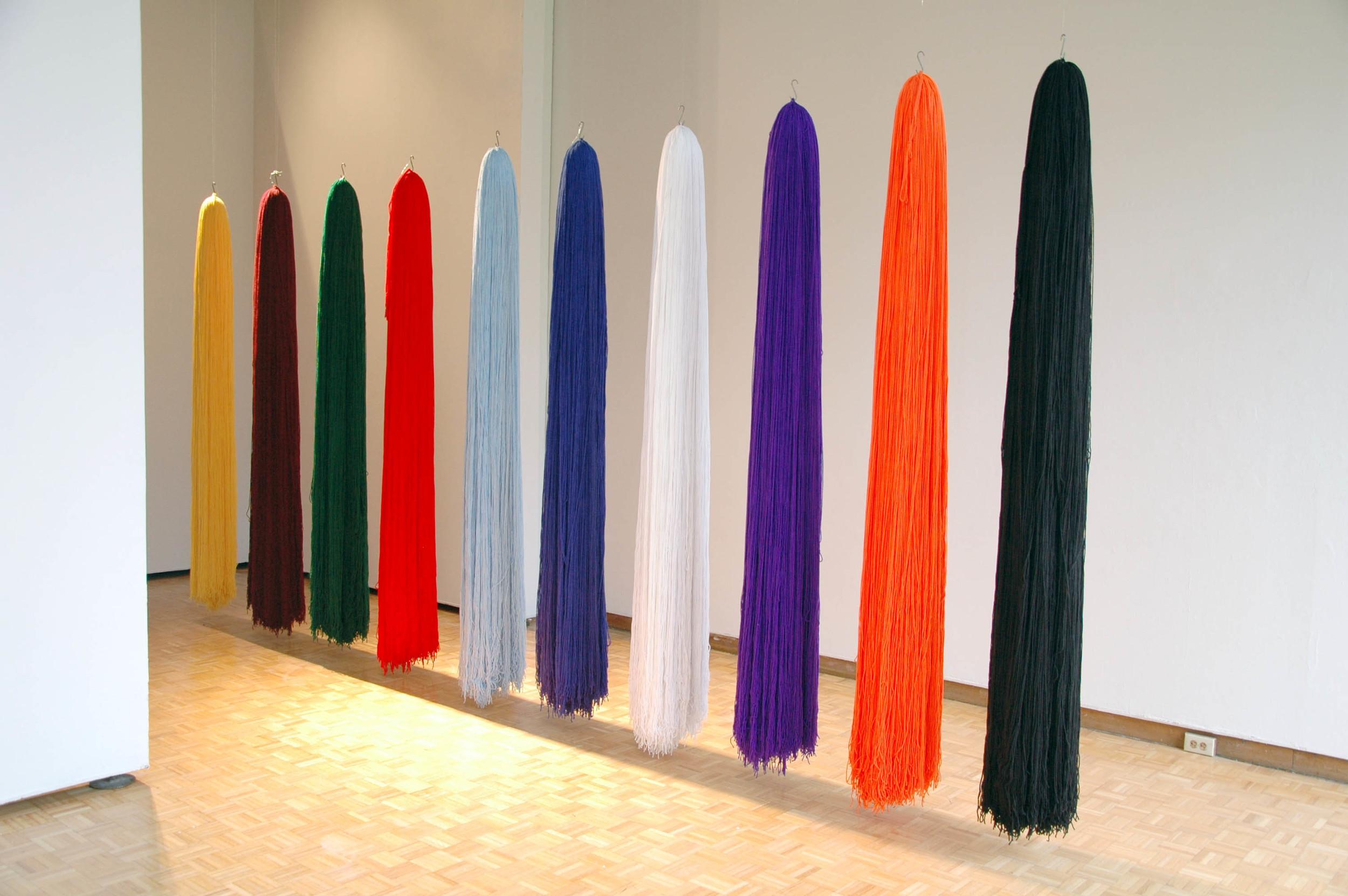 """Untitled (Varsity), 2008, 10 Acrylic yarn tassels, 12"""" x 72"""" each (Installation)"""