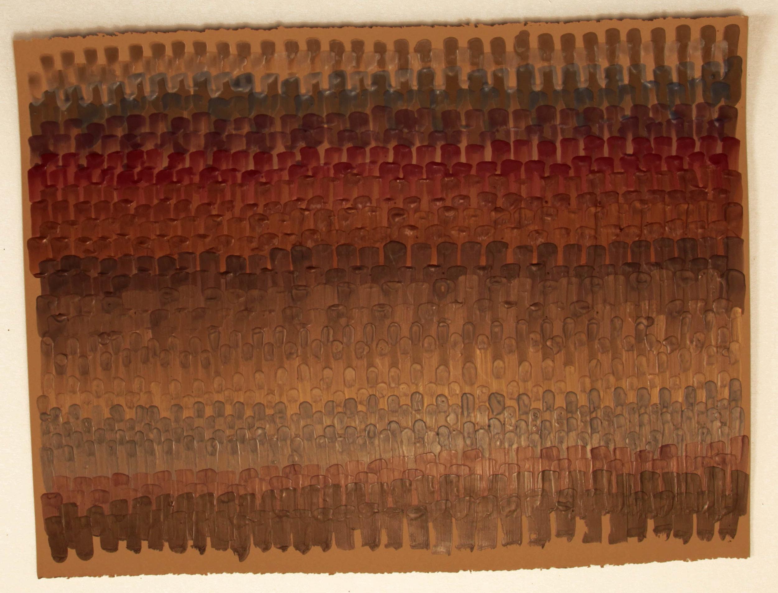 Serape 1, 2016, Encaustic on acid-free paper, 30 x 22-1/2 inches