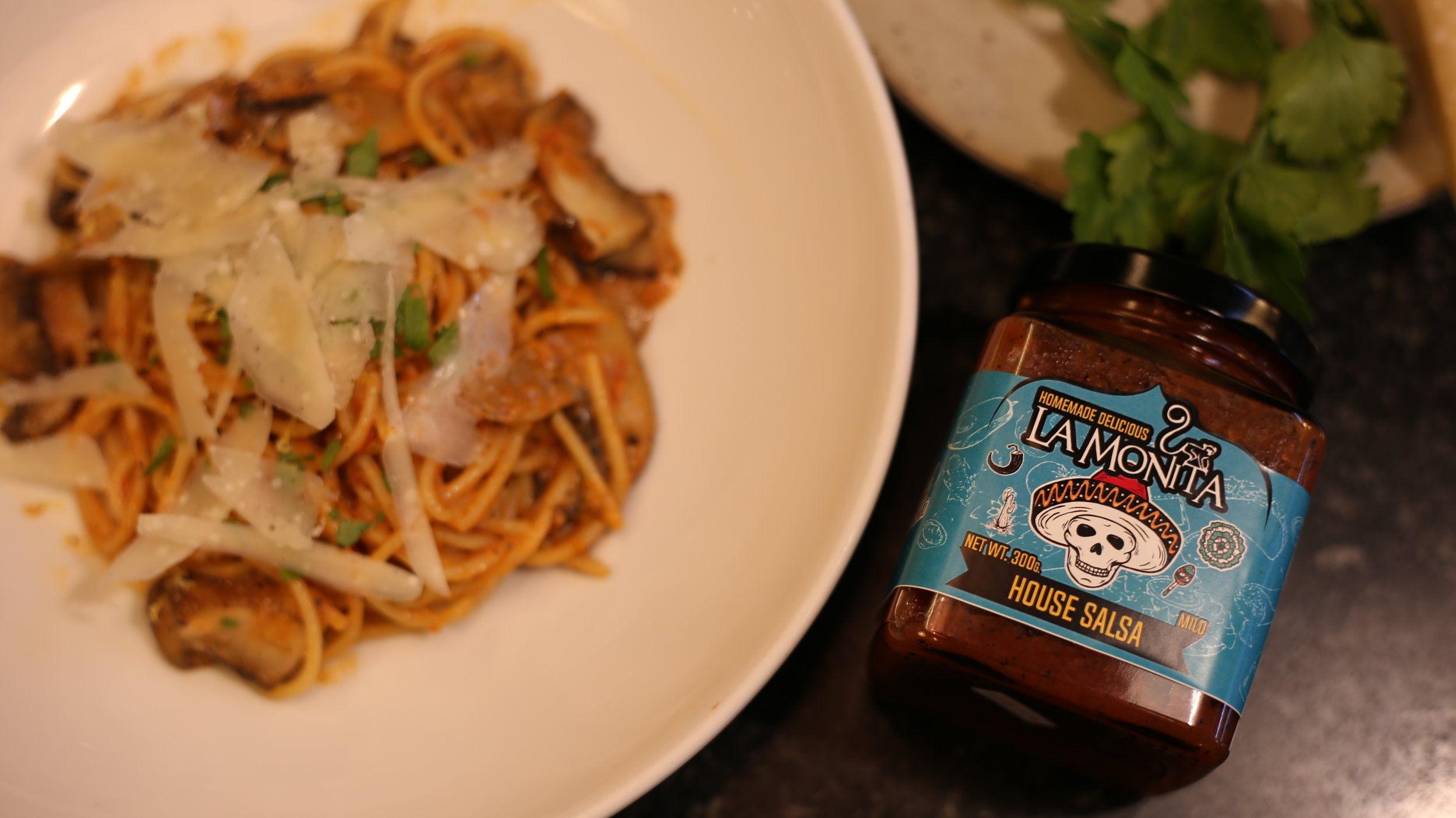 LA MONITA PASTA WITH HOUSE SALSA MUSHROOM CREAM SAUCE