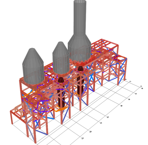 Structural Dynamics Model of Industrial Complex with Fluid-Filled Vessels