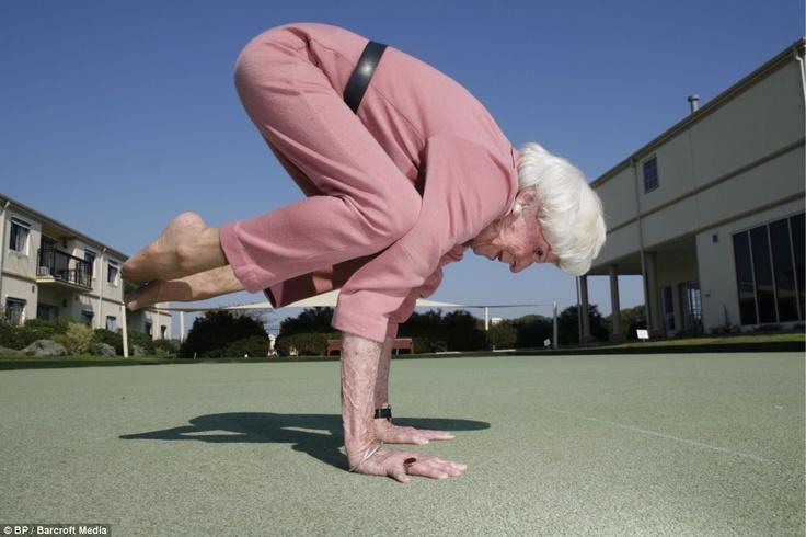 Old woman doing yoga