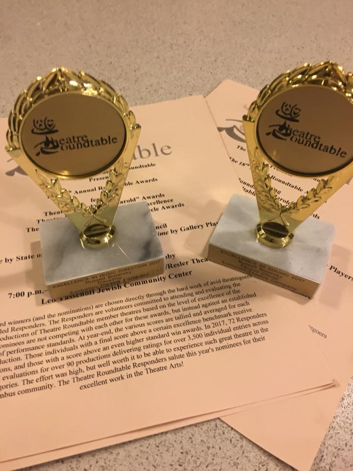- Took home two Theatre Roundtable Awards on Sunday evening for Direction of Music and Sound. So very pleased to have worked with such wonderful people this year on several outstanding productions. Thanks all!!
