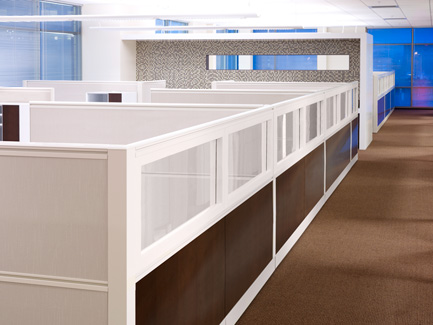 Open plan work area created from Xsite panels