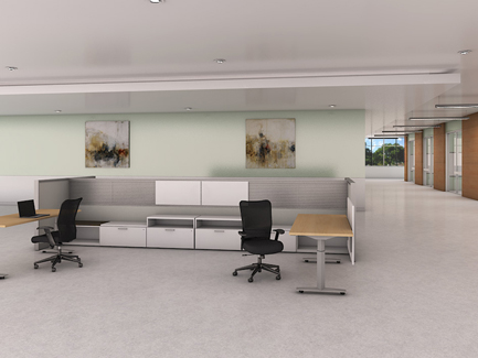 Priority height-adjustable tables with Xsite panels and Itsa seating