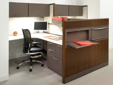 Xsite panel system with Footprint worksurfaces and storage, Perks accessories, and Skye seating