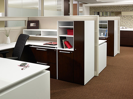 Open plan setting with Fluent workstations, Xsite panel systems, and Hero. Just for You. seating