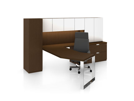 Definition private office with angled worksurface and Elite leg