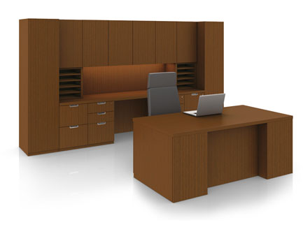 Definition private office with bookcase organizers and Axos seating