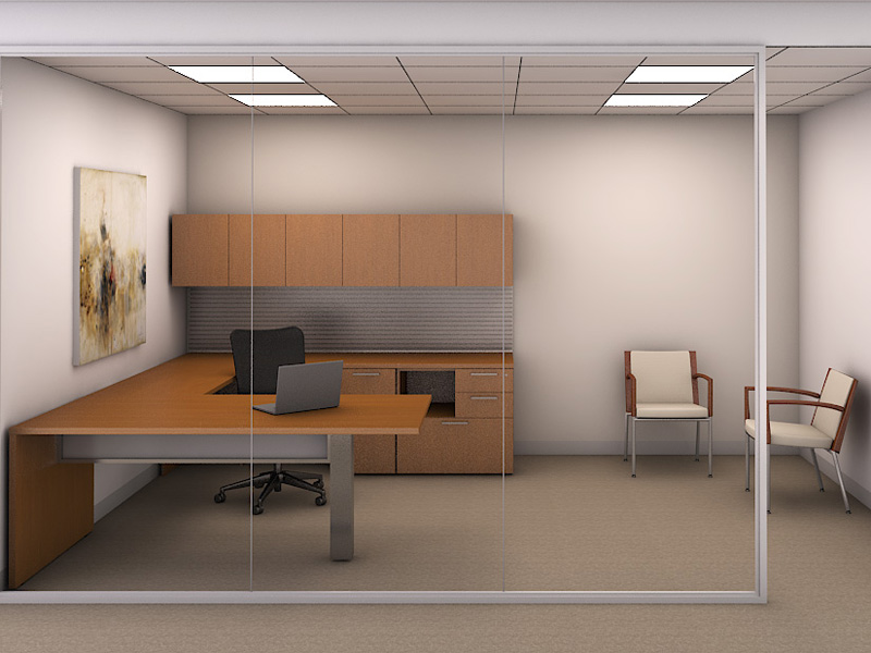 Priority private office with Traxx work wall and Skye seating
