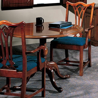 Independence Richland fluted Chippendale style chairs with Conferencing Solutions table