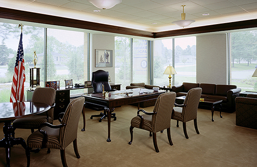 President table desk and storage with Cresent lounge and Springfield seating