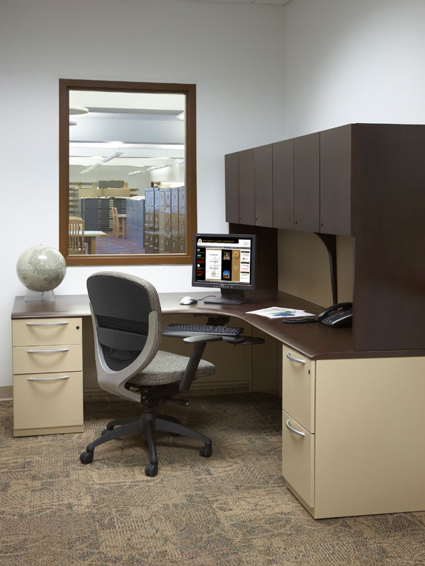 Private office with Footprint desk and storage and Wish seating