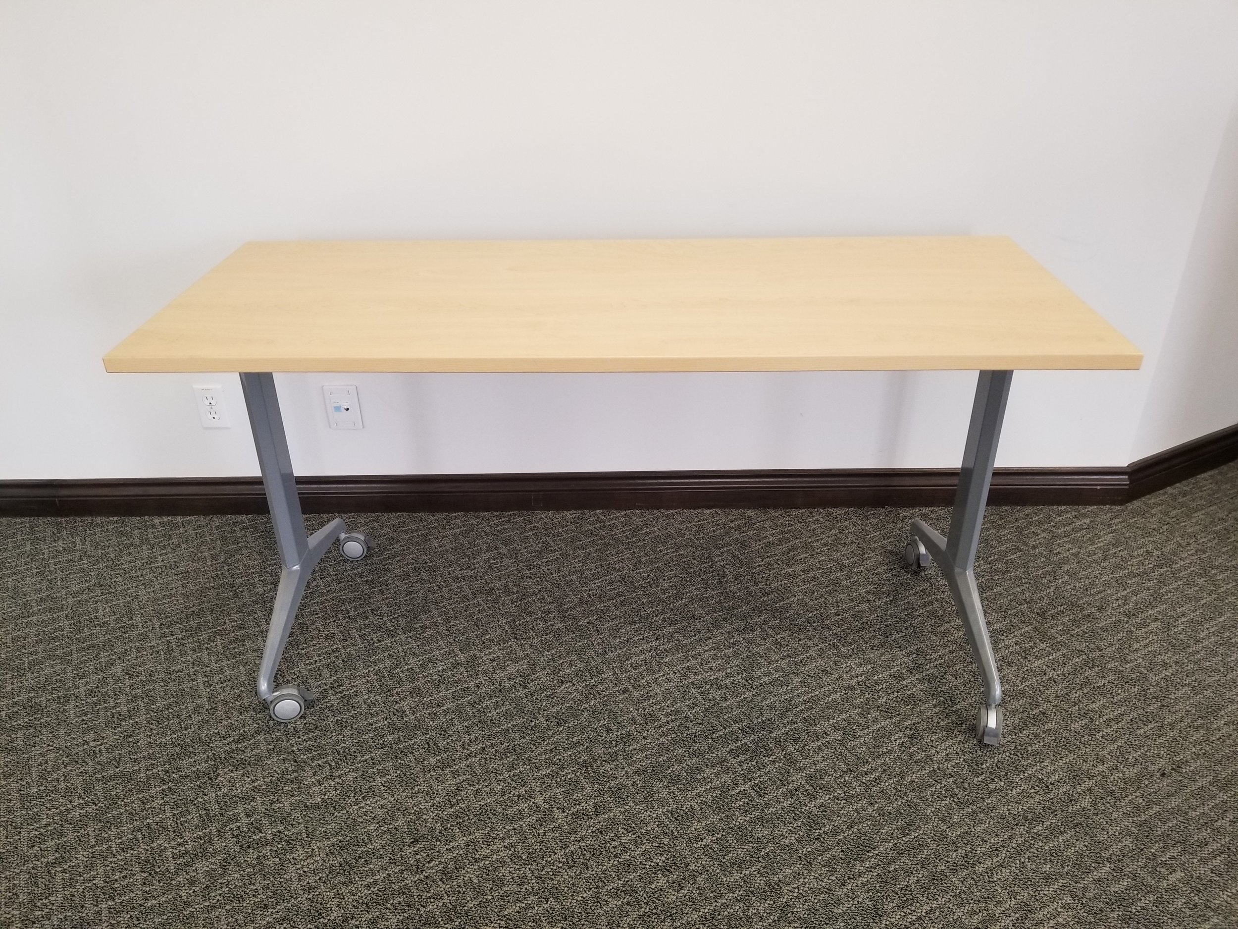 "60"" x 30"" Mobile flip top table - maple finish"