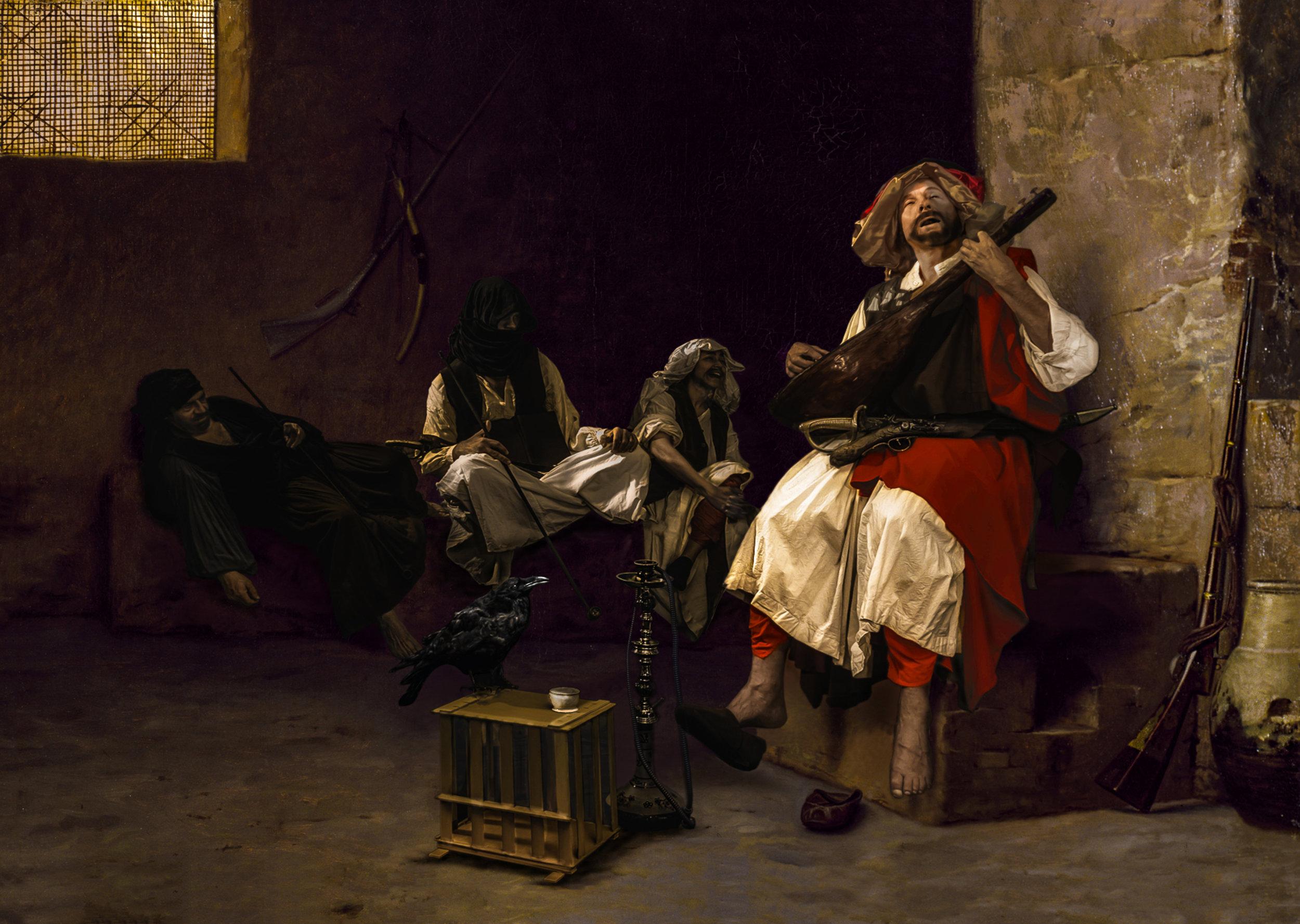 """""""Bashi-Bazouki Singing"""" - 1868 Jean Léon Gérôme-SMALL.jpg"""