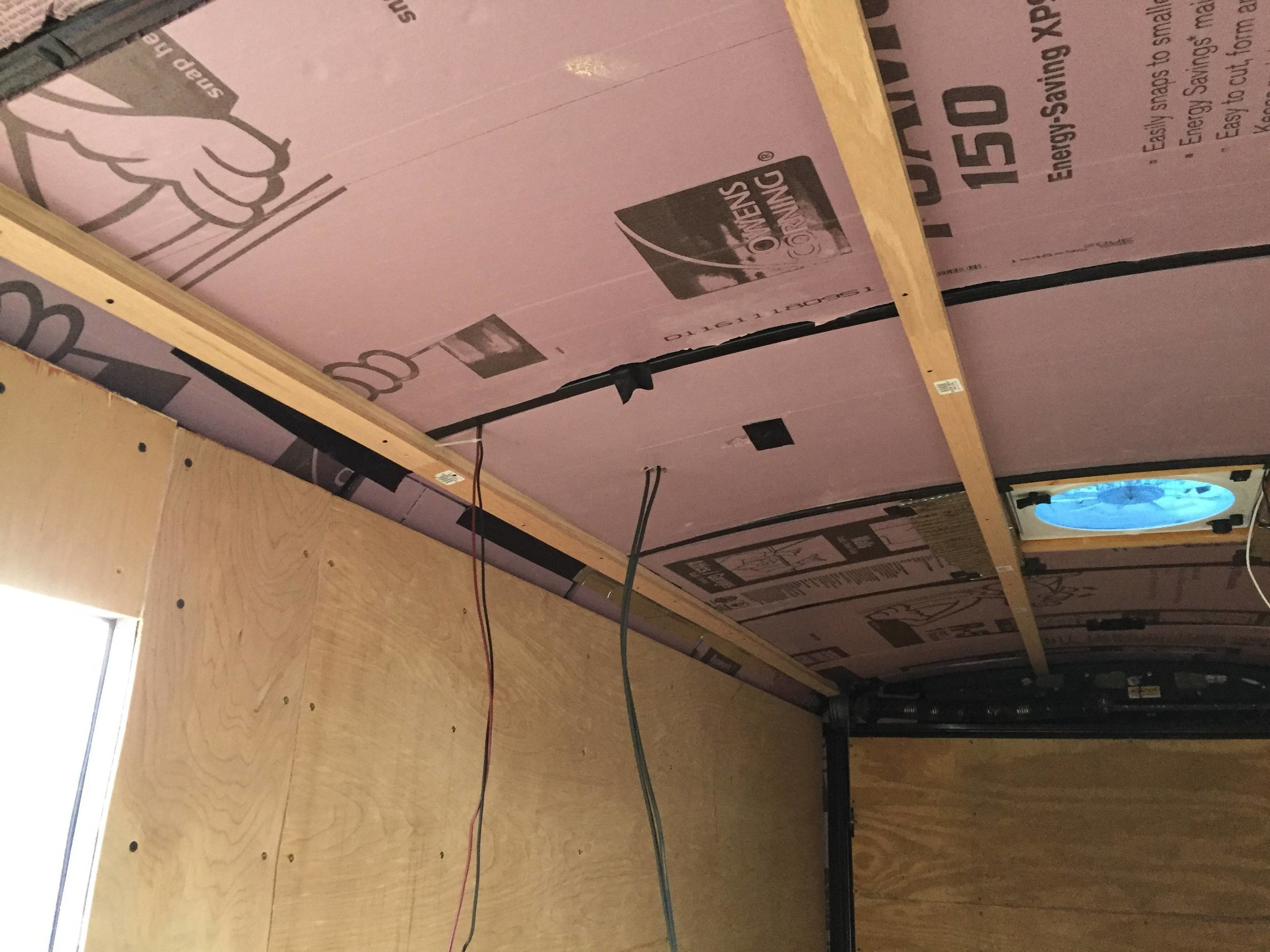 """1"""" furring strips. The second layer of mostly-continuous insulation will go between these, and the ceiling paneling will be fastened to them."""