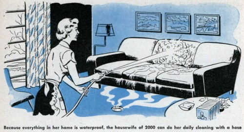 "[""Because everything in her home is waterproof, the housewife of 2000 can do her daily cleaning with a hose."" From    here.   ]"