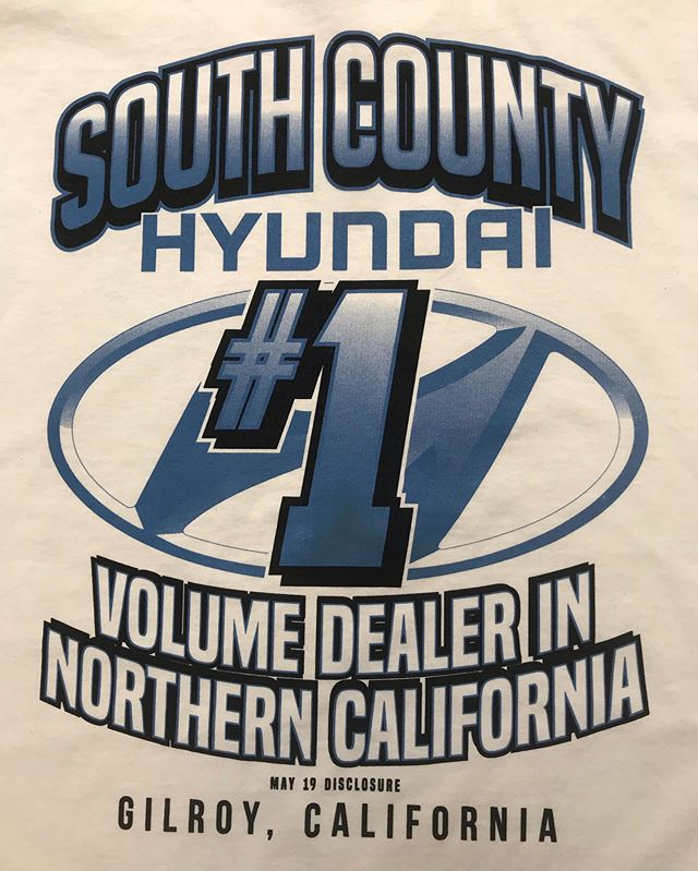 @southcounty_hyundai with the best apparel in the car dealership industry  #screenprinting #screenprint #screenprintshop #ink #squeegee #business #sanjose #sanjoseca #gilroy #blossomhill #california #crand #cbrands #clothing #car #cars #hashtag