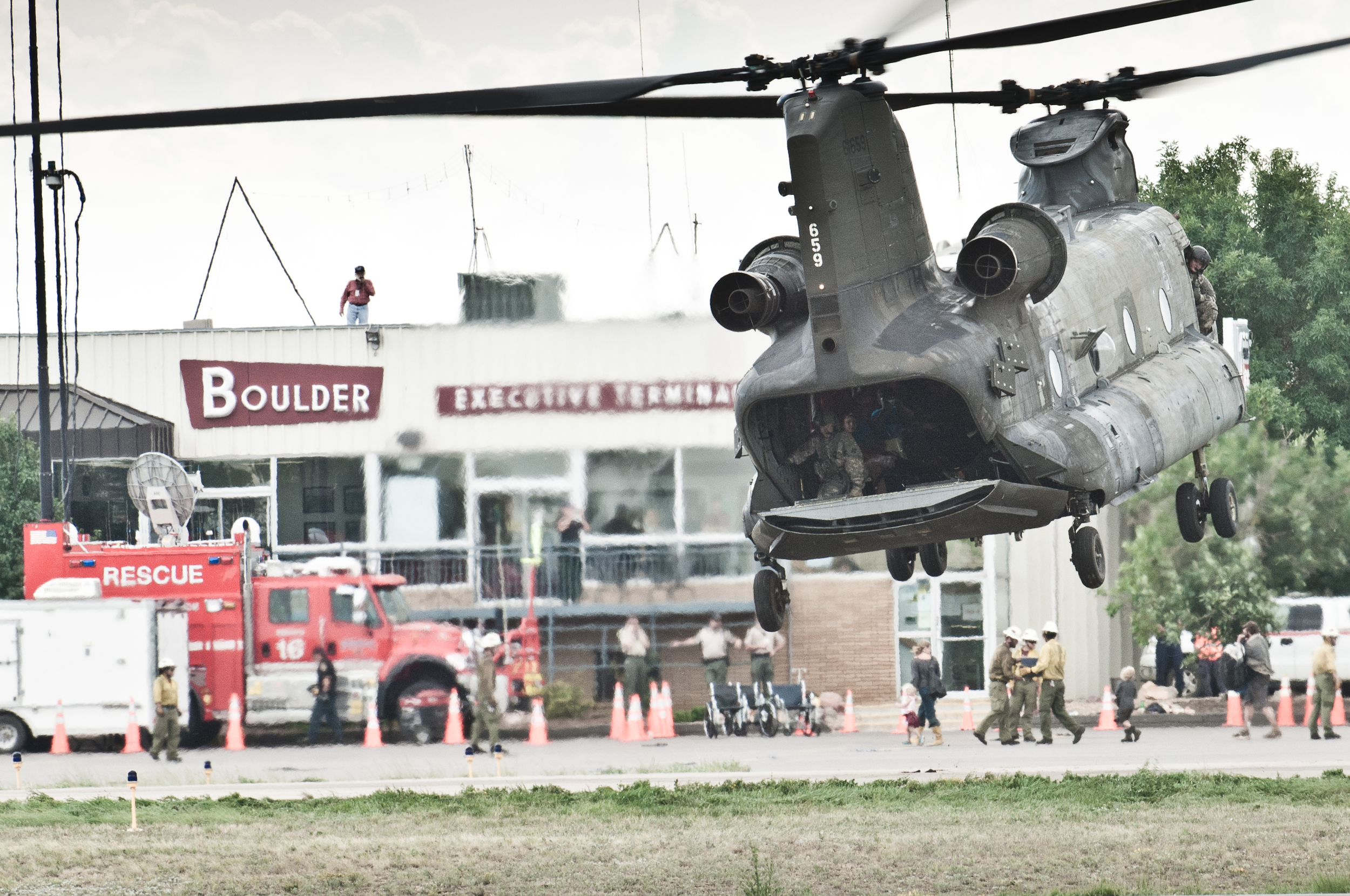 The Chinooks came to the rescue of thousands. Was very moving watching people empty out of the back of the choppers with a pet and a bag - knowing they would not see their homes for a long time...if ever.