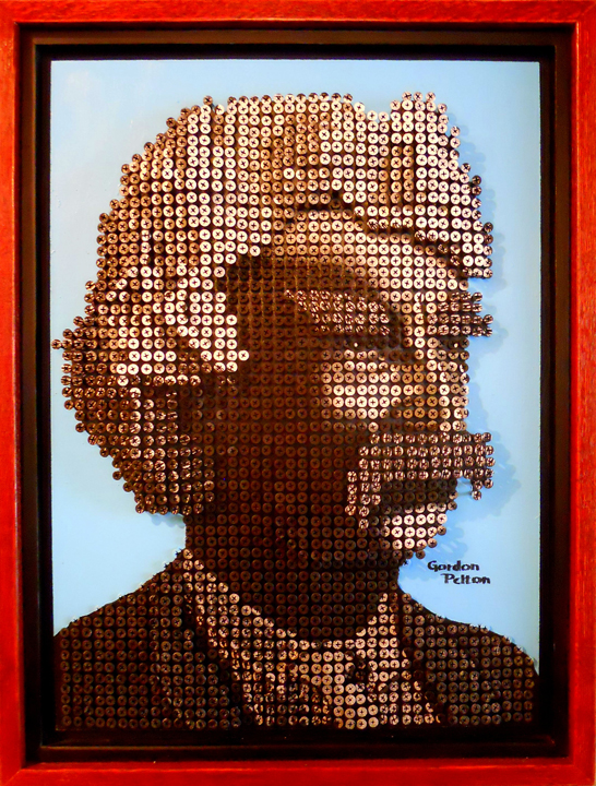 """""""Mark Twain"""" in Bas Relief   19"""" x 25"""" Framed Screws on Plywood Panel  $4100     PLACE ORDER"""