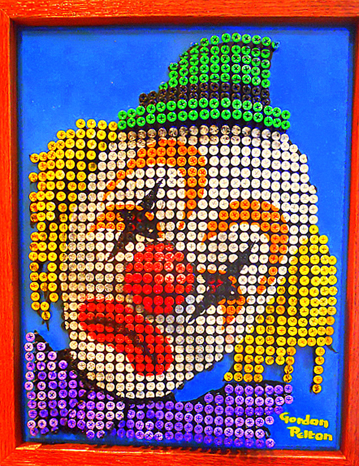 """""""Clown 2"""" in Bas Relief   14"""" x 18"""" Framed Screws in Plywood Panel (Available only in Sculpture - see that category)"""
