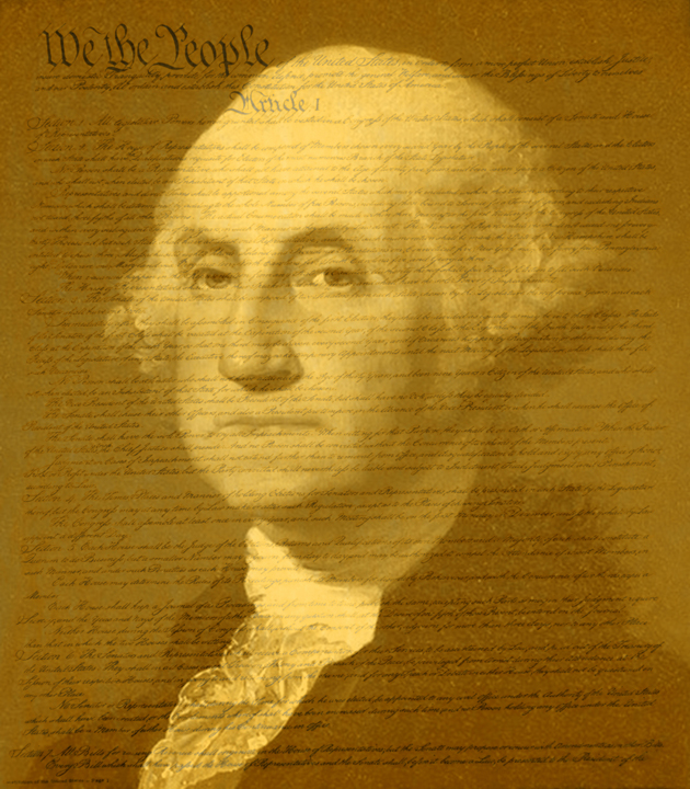 George Washington PhotoShopped Over the United States Constitution