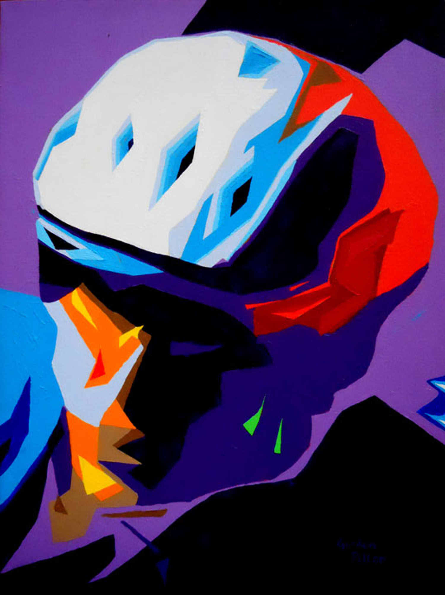 "Biker in Abstract   12"" x 16"" Gallery-Wrap Acrylic $995  Giclee Copies Available     PLACE ORDER"