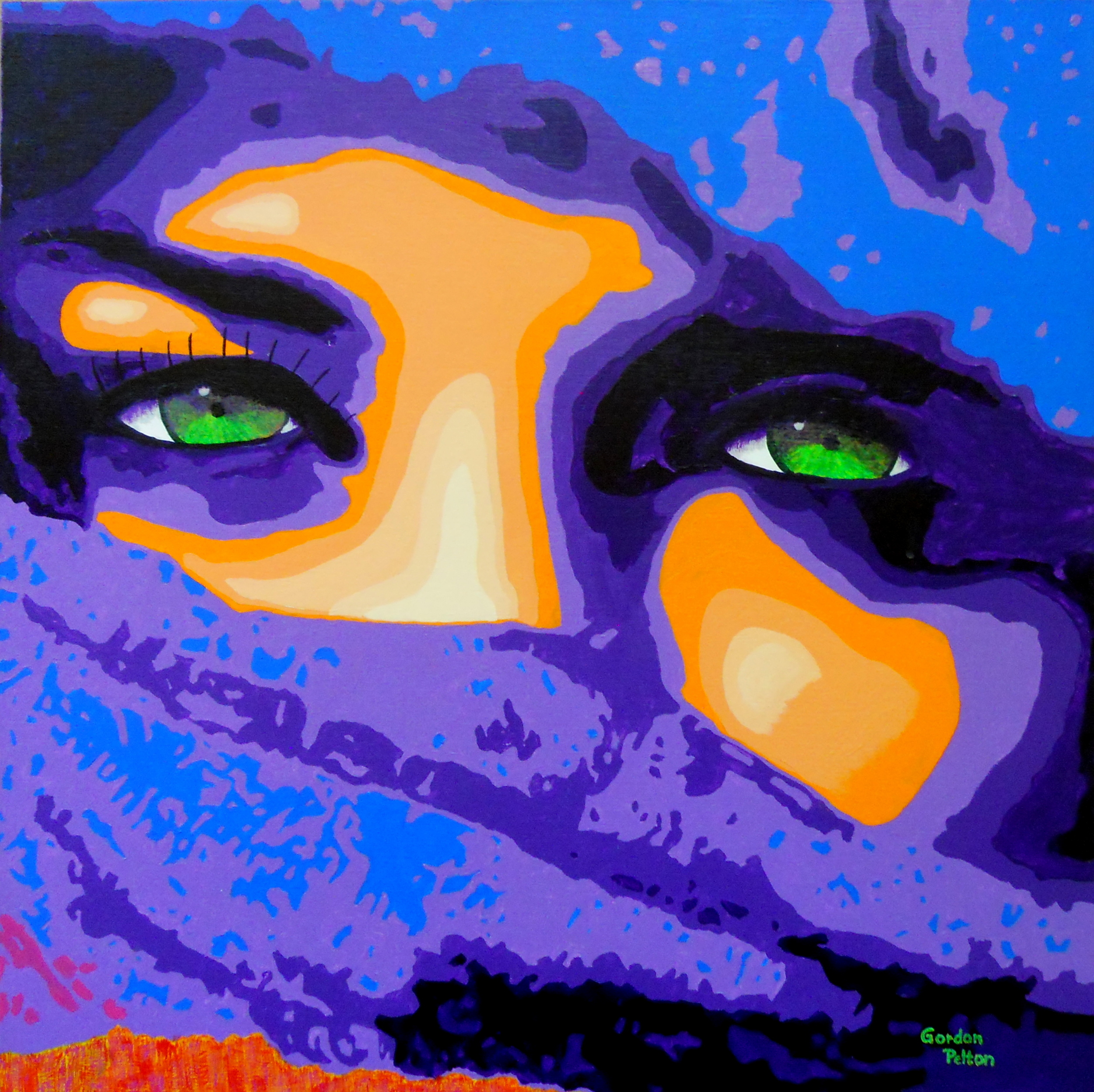 "Woman in Purple and Blue Hijaab  24"" x 24"" Gallery Wrap Acrylic $1795  Gilclee Copies Available"
