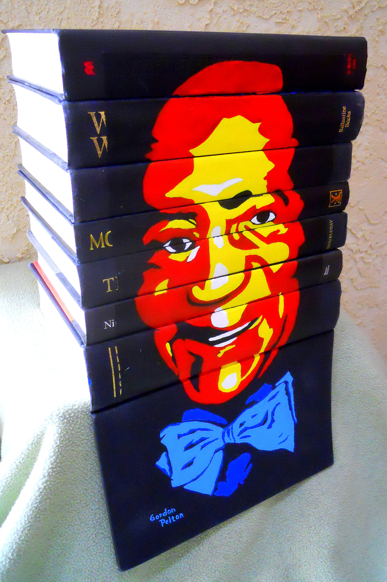 Bill Cosby,  Three Views  Acrylic on Book Spines  $795     PLACE ORDER