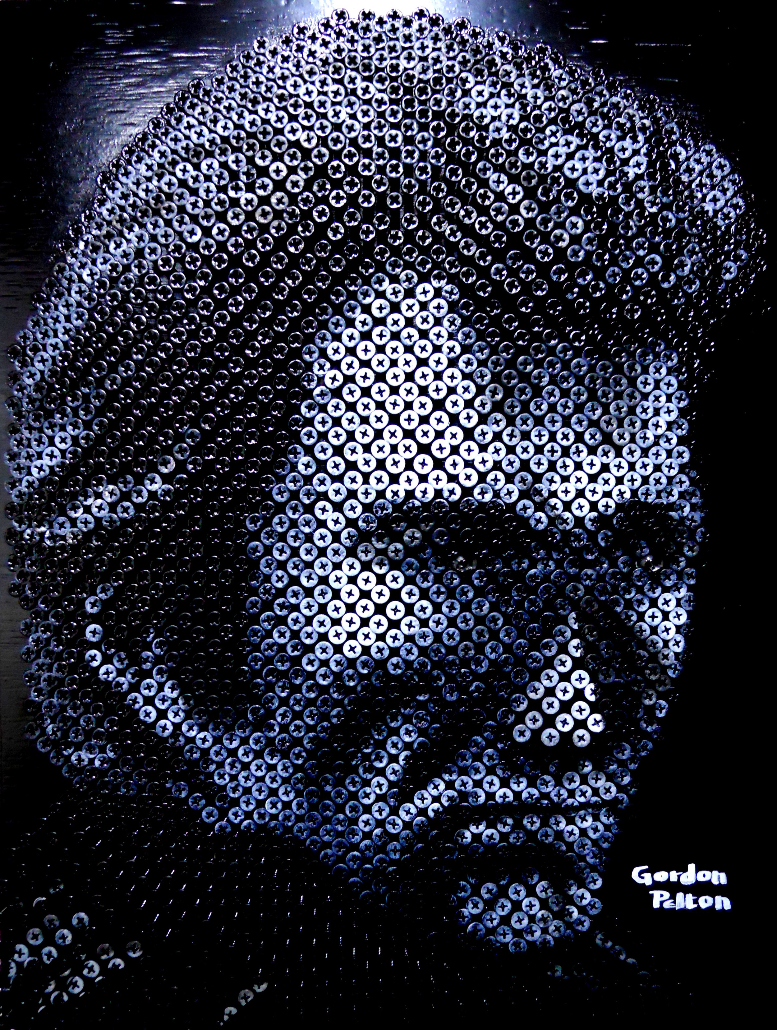 """""""Dirty Harry (Clint Eastwood)"""" in Bas Relief   17 x 22 Screws in Plywood, Framed $2500   PLACE ORDER"""