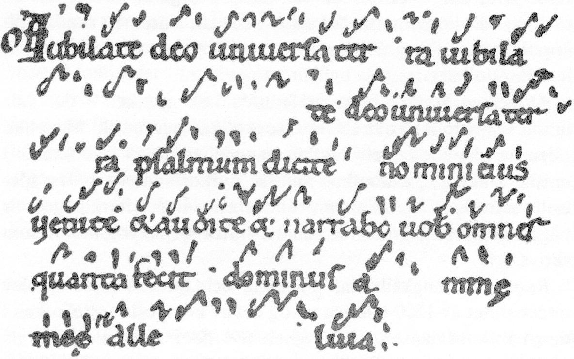 Early Christian music notation, neumes over Latin letters
