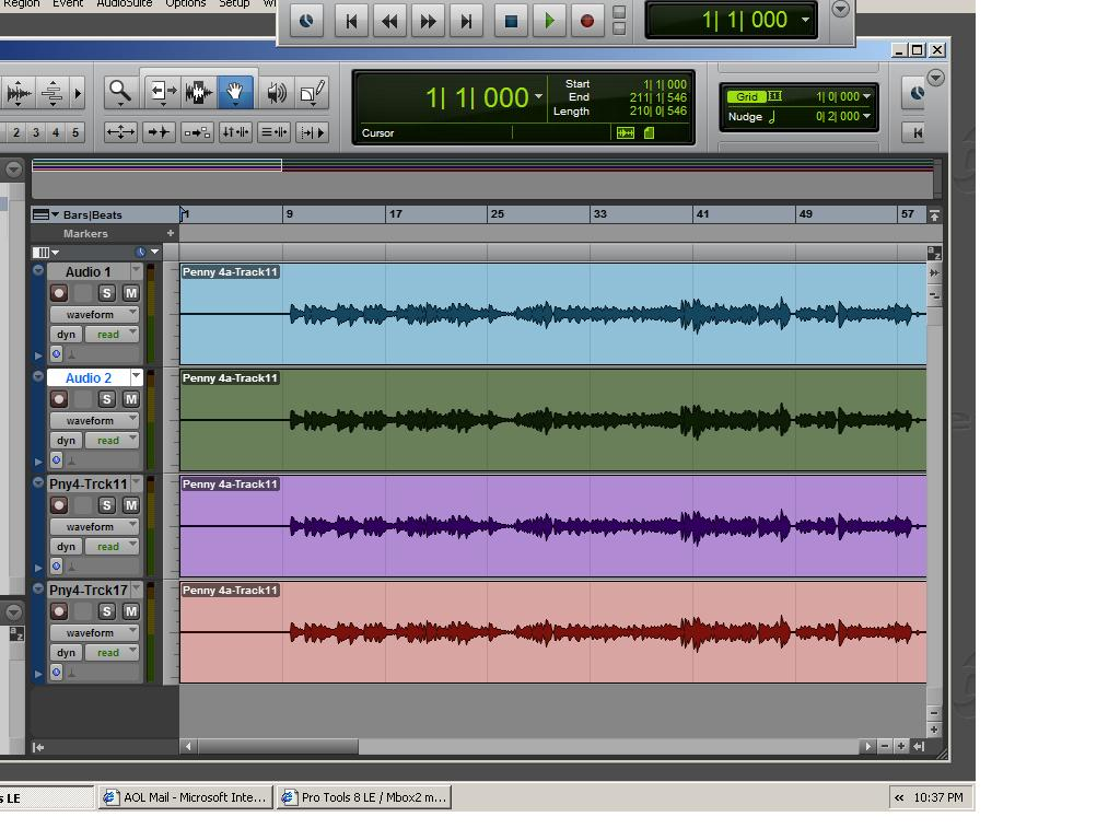 Pro Tools session where the horizontal lines persist, now illustrating the acoustic energy of the sound itself instead of pitch for editing recordings