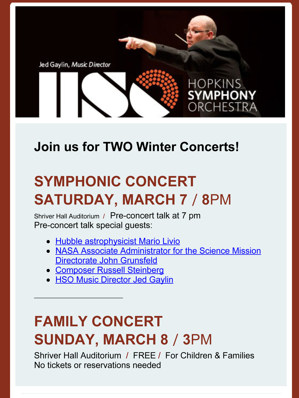 Hopkins Symphony Poster for Cosmic Dust Concert