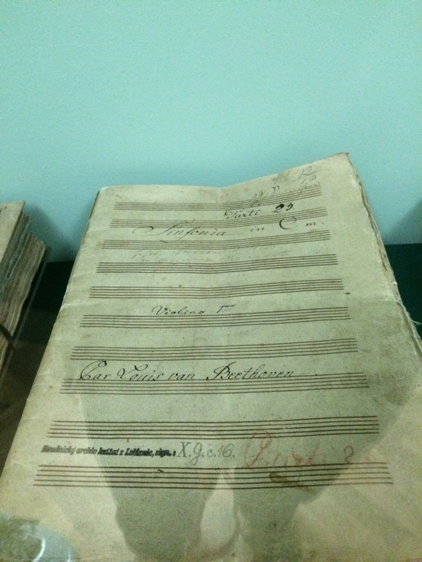 Original orchestra parts for Beethoven's 5th! The descriptive plate said that Beethoven's corrections were in the parts, but only the cover was displayed.