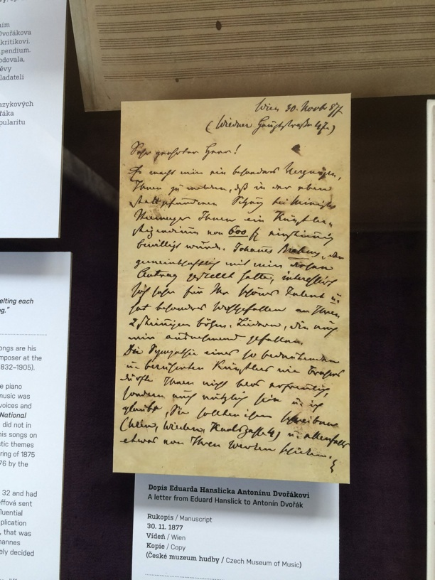 Letter from Edward Hanslick to Dvorak letting him know that he won a scholarship from Germany and that Brahms was especially impressed with his work. This was to be Dvorak's big break.