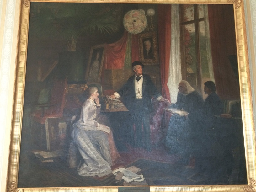 Painting of Wagner at home with Cosima and Franz Liszt