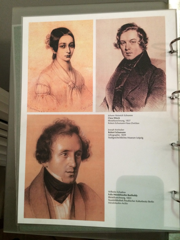 Portraits of Clara and Robert, with Mendelssohn below