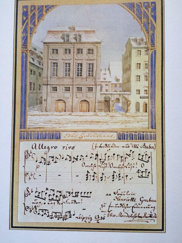 Imagine receiving this incredible original artwork and manuscript postcard of the Gewandhaus in the mail from your friend Felix Mendelssohn!