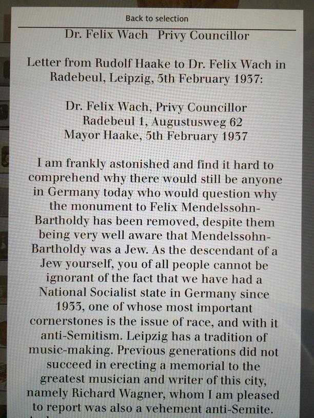 Translation on display at the Mendelssohn House of the Mayor of Leipzig's letter of response to Mendelssohn's grandson regarding the removal of the Mendelssohn monument in 1936.