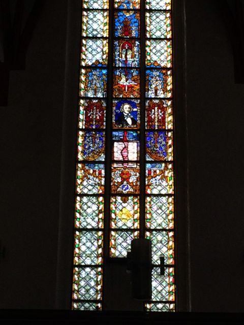 The Mendelssohn stained glass window in St. Thomas Kirche, so appropriate for the composer who did the most to promote the music of Bach