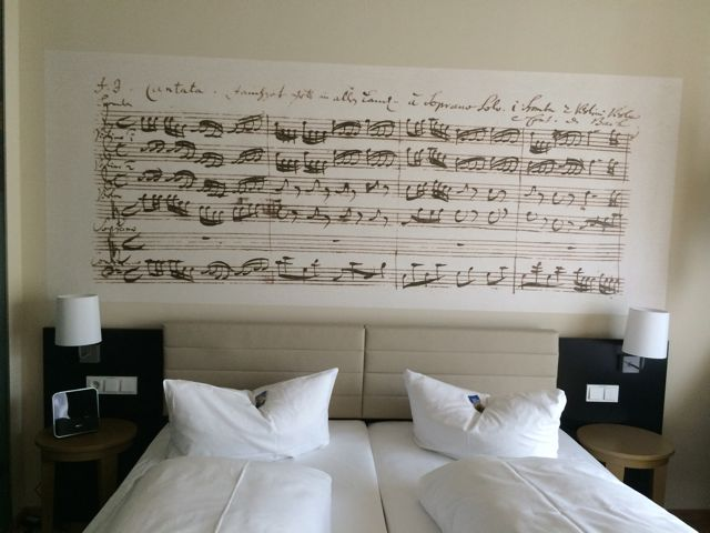 The room decor in the Arcona 14 (get it?) Bach hotel directly across the street from St. Thomas Kirche and next door to the Bach Museum—highly recommended! :)