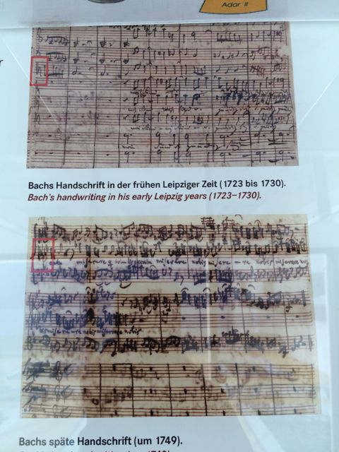 Bach's manuscript in his early and late Leipzig years—the red boxes show the difference in the way he drew C clefs.